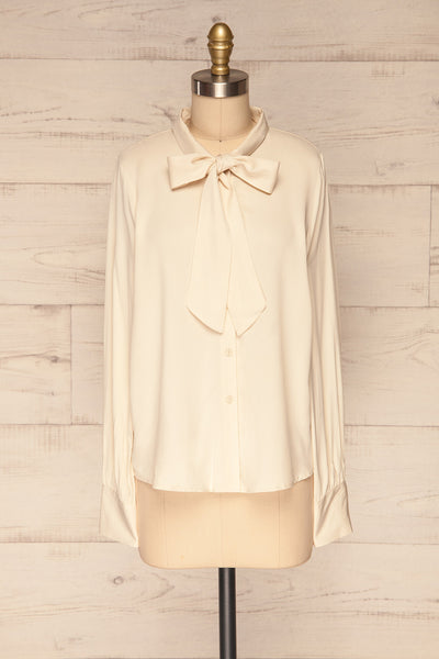 Wijchen Beige Button-Up Shirt w/ Tie Collar face view | La Petite Garçonne