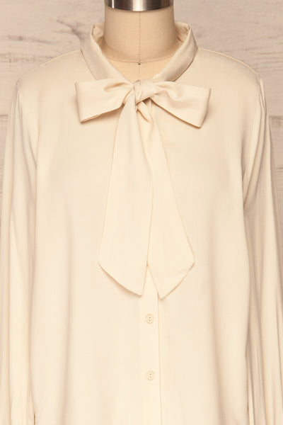 Wijchen Beige Button-Up Shirt w/ Tie Collar front close up | La Petite Garçonne