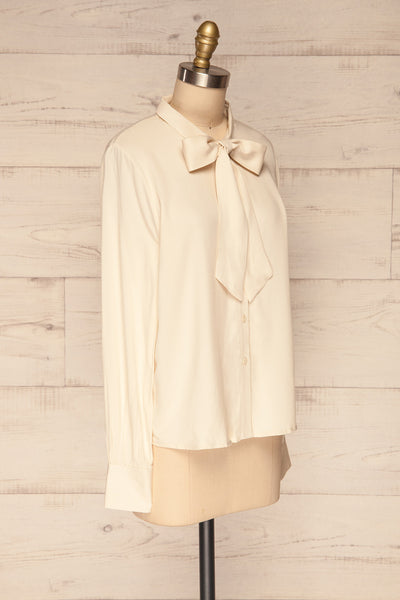 Wijchen Beige Button-Up Shirt w/ Tie Collar side | La Petite Garçonne