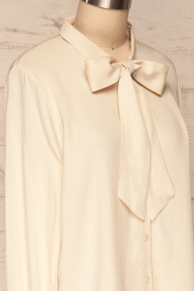 Wijchen Beige Button-Up Shirt w/ Tie Collar side close up | La Petite Garçonne