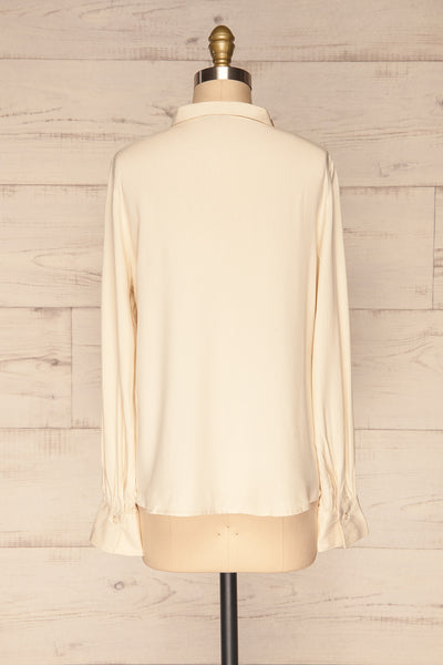 Wijchen Beige Button-Up Shirt w/ Tie Collar back view | La Petite Garçonne