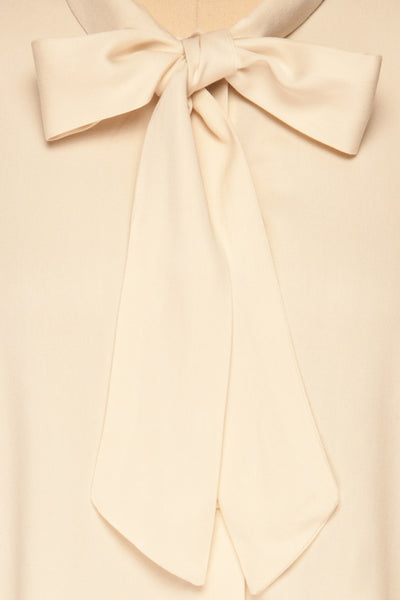 Wijchen Beige Button-Up Shirt w/ Tie Collar bow close up | La Petite Garçonne