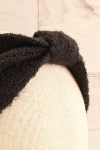 Wilster Black Knit Headband | Bandeau | La Petite Garçonne close-up