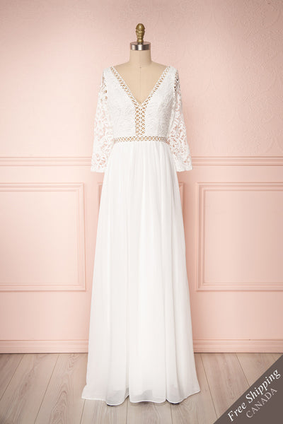 Woodhouse White Chiffon & Lace Maxi Bridal Dress | Boudoir 1861