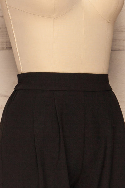 Wynne Coal Black High Waist Pants | La petite garçonne side close-up