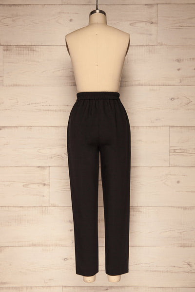 Wynne Coal Black High Waist Pants | La petite garçonne back view