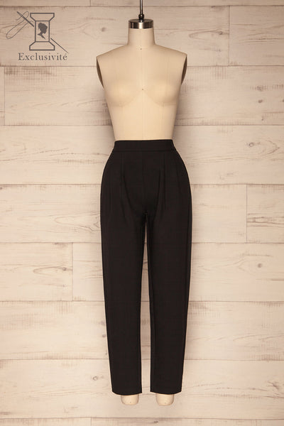 Wynne Coal Black High Waist Pants | La petite garçonne front view