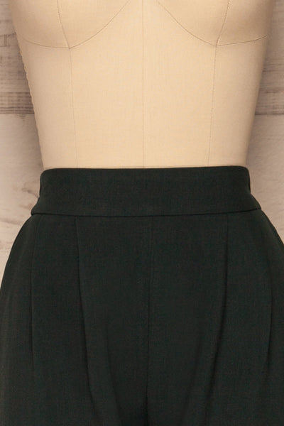 Wynne Emerald Green High Waist Pants | La petite garçonne front close-up