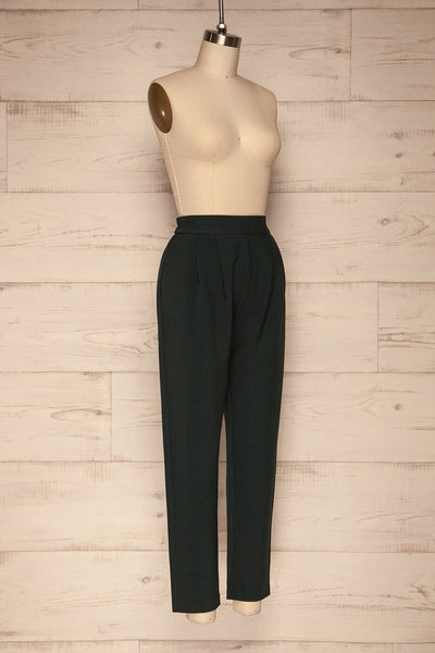 Wynne Emerald Green High Waist Pants | La petite garçonne side view