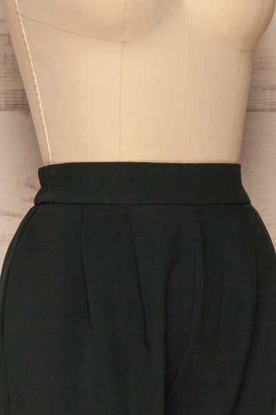Wynne Emerald Green High Waist Pants | La petite garçonne side close-up
