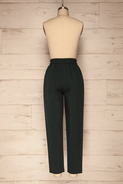 Wynne Emerald Green High Waist Pants | La petite garçonne back view