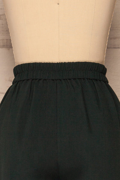 Wynne Emerald Green High Waist Pants | La petite garçonne back close-up