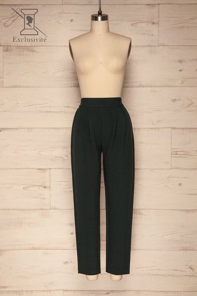 Wynne Emerald Green High Waist Pants | La petite garçonne front view