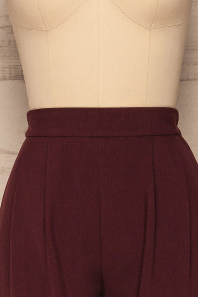 Wynne Garnet Burgundy High Waist Pants | La petite garçonne front close-up