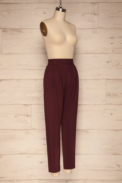 Wynne Garnet Burgundy High Waist Pants | La petite garçonne side view