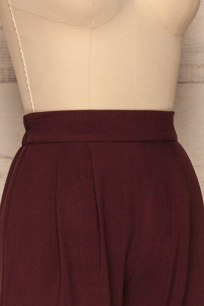 Wynne Garnet Burgundy High Waist Pants | La petite garçonne side close-up