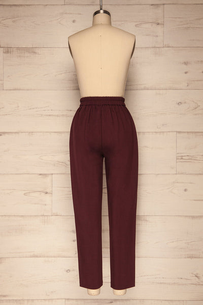 Wynne Garnet Burgundy High Waist Pants | La petite garçonne back view