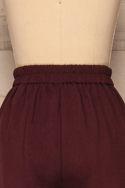 Wynne Garnet Burgundy High Waist Pants | La petite garçonne back close-up