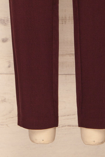 Wynne Garnet Burgundy High Waist Pants | La petite garçonne bottom close-up