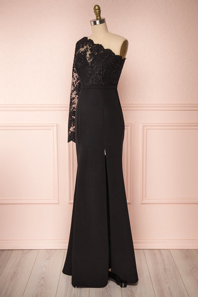 Xylia Black One Long Sleeve Maxi Dress | Boutique 1861 side view