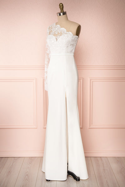 Xylia Ivory One Long Sleeve Maxi Bridal Dress | Boutique 1861 side view