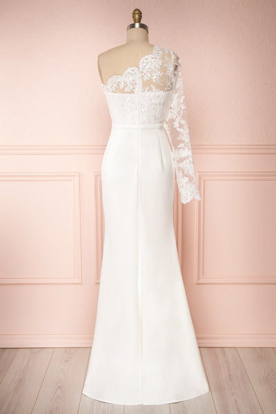 Xylia Ivory One Long Sleeve Maxi Bridal Dress | Boutique 1861 back view