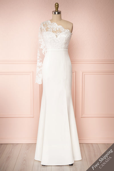 Xylia Ivory One Long Sleeve Maxi Bridal Dress | Boutique 1861 front view