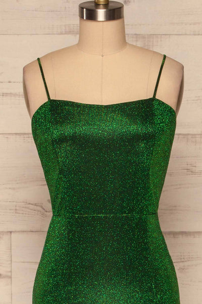 Yachiyo Green Sparkly Mermaid Gown | Robe front close up | La Petite Garçonne