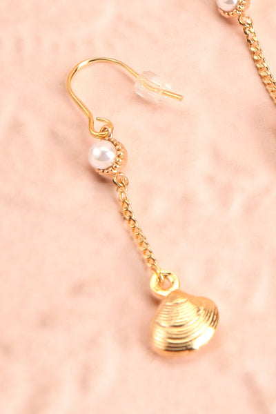 Yayi Bayam Diouf Gold Seashell Pendant Earrings | Boutique 1861 close-up
