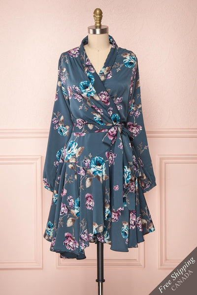 Yoshiro Blue & Purple Floral Wrap Dress | Boutique 1861