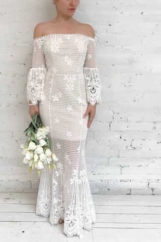 Youksane White & Beige Lace Off-Shoulder Mermaid Gown | Boudoir 1861