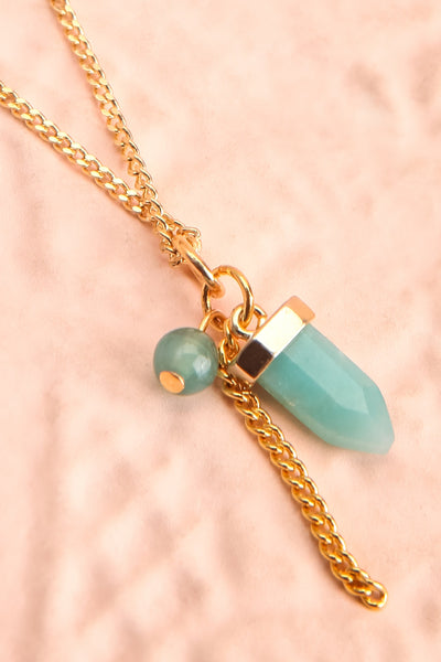 Zelia Nuttall Amazonite Pendant Gold Necklace | Boutique 1861 flat close-up