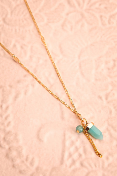 Zelia Nuttall Amazonite Pendant Gold Necklace | Boutique 1861 flat view