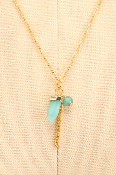 Zelia Nuttall Amazonite Pendant Gold Necklace | Boutique 1861 close-up