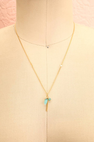 Zelia Nuttall Amazonite Pendant Gold Necklace | Boutique 1861