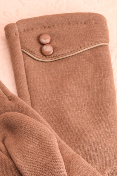 Zhukovsky Taupe Faux-Fur Lined Gloves with Buttons | Boutique 1861 2