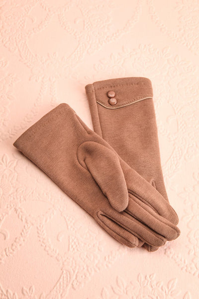 Zhukovsky Taupe Faux-Fur Lined Gloves with Buttons | Boutique 1861 1