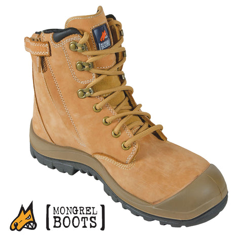 Mongrel 561050 High Leg Wheat Safety Boots - Zip Side