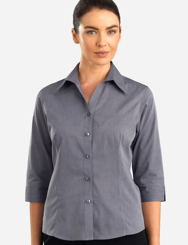 ladies-jk-chambray-graphite-semi-tailored-3-4-sleeve