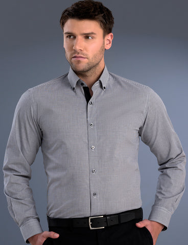 mens-black-small-check-slim-fit-ls-shirt