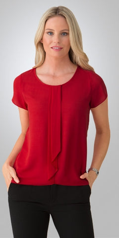 ladies-cascade-short-sleeve-red