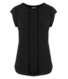 Ladies Mackenzie Cap Sleeve Box Pleat Blouse