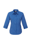 ladies-cuban-3-4-sleeve-indigo-front