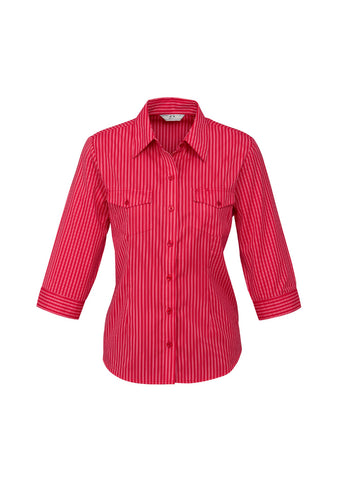 ladies-cuban-3-4-sleeve-red-front
