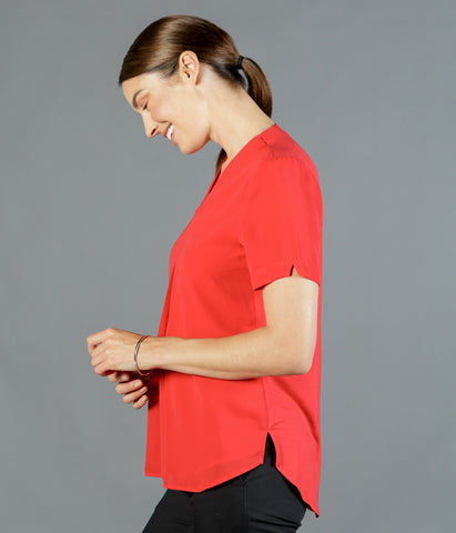 ladies-blouse-elizabeth-vee-kneck-soft-red-main-gloweave-ss