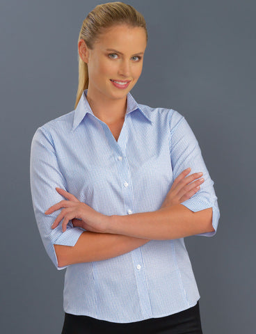 ladies-mini-check-semi-tailored-3-4-sleeve-blouse-blue