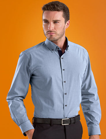 Mens Micro Check Navy Stretch Slim Fit Shirt