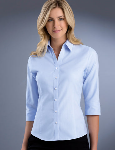 ladies-new-pinpoint-oxford-sky-3-4-sleeve-uv