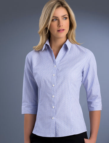 ladies-dobby-stripe-slim-fit-3q-sleeve-blue-uv-fabric