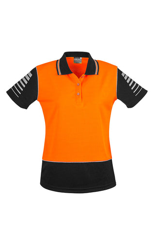 womens-hi-vis-industrial-polo-orange-black-short-sleeve-front
